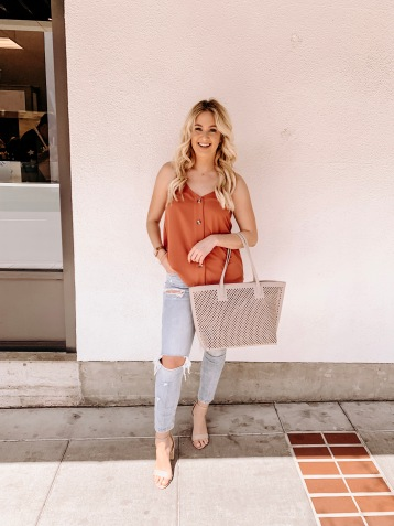 Tank with beige purse - Miyamo Boutique